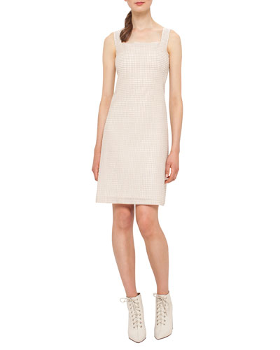 Sleeveless Check Sheath Dress, Nude
