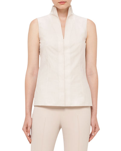 Sleeveless Stand-Collar Blouse, Nude