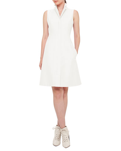 Sleeveless A-Line Zip Shirtdress
