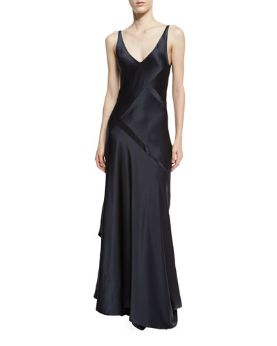Sleeveless Bias-Cut Silk Gown, Dark Indigo