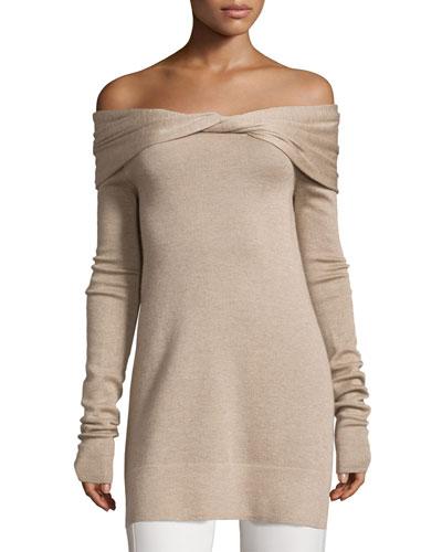 Twisted Off-Shoulder Long-Sleeve Tunic, Oatmeal Melange