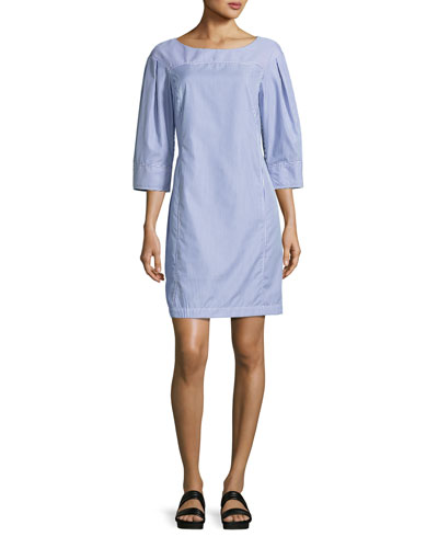 Pinstripe Boat-Neck Tunic Dress, Blue/White