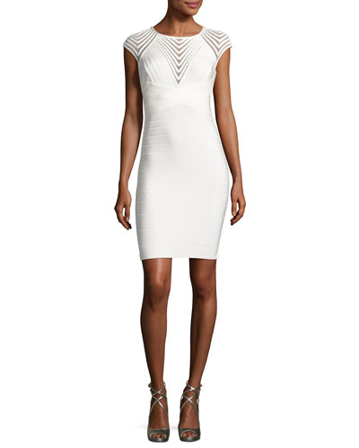 Mesh-Inset Cap-Sleeve Bandage Dress, White