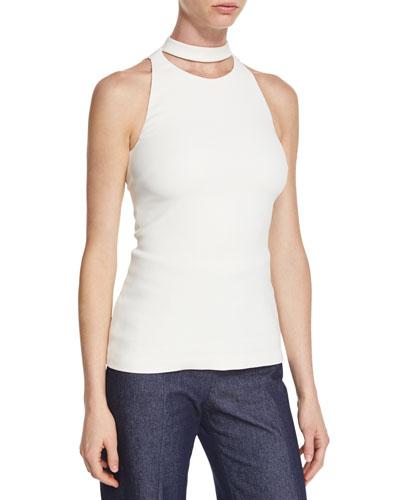 Cutout-Turtleneck Sleeveless Blouse, Soft White