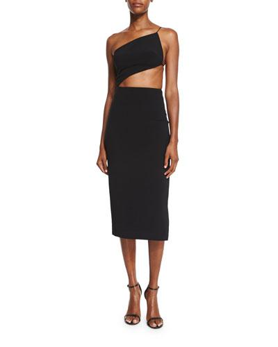 One-Shoulder Open-Back Cady Dress