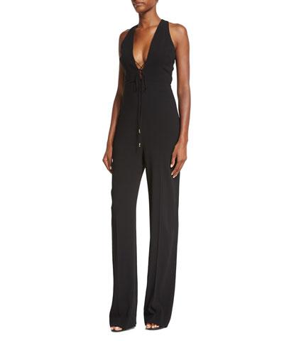 Lace-Up Open-Back Halter Jumpsuit, Black