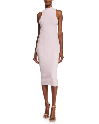 Ribbed Mock-Neck Racerback Dress