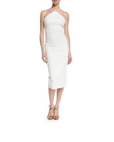 Multi-Strap Halter Midi Dress