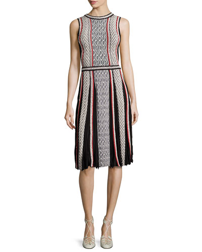 Sleeveless Tweed-Print Day Dress, Black Pattern