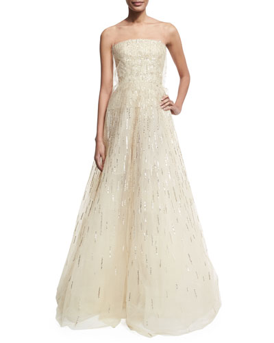 Embellished Strapless A-Line Gown, Beige