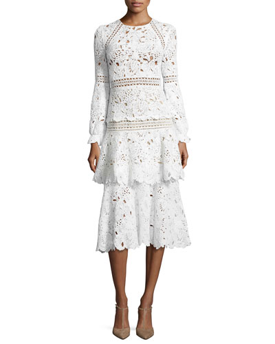 Long-Sleeve Macrame Midi Dress, White