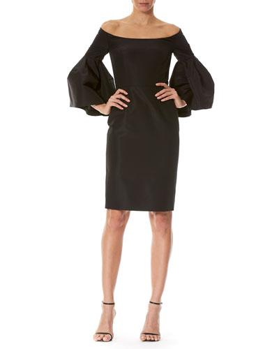 Off-the-Shoulder Bell-Sleeve Cocktail Dress