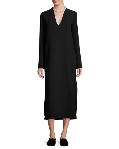 Alice Long-Sleeve V-Neck Midi Dress