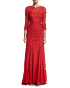 3/4-Sleeve Beaded Open-Back Gown, Red