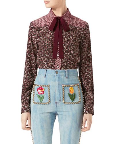 Autumn Flower Printed Silk Shirt, Maroon