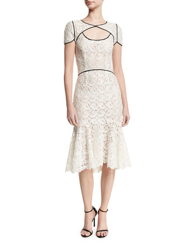 Guipure Lace Keyhole Flounce Dress, White/Black