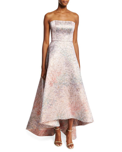 Spring Blossom Jacquard Strapless Gown, Light Pink