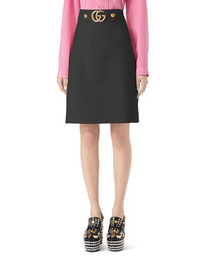 41712bc3de7 Quick Look. Gucci · A-Line Wool-Silk Skirt ...