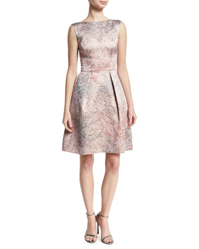Spring Blossom Jacquard Fit-&-Flare Dress, Light Pink