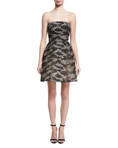 Strapless Embroidered Tulle Cocktail Dress, Black/Silver