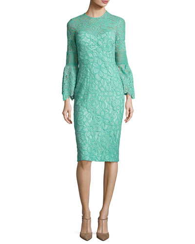 Floral Corded Lace Bell-Sleeve Dress, Light Green