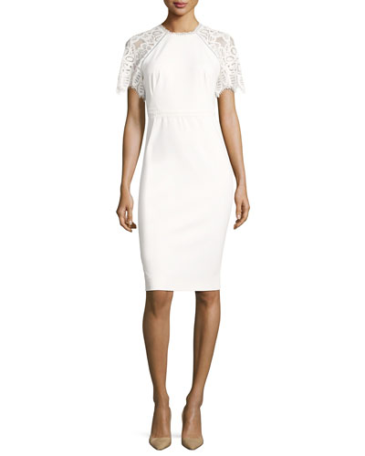 Lace-Sleeve Sheath Dress, White