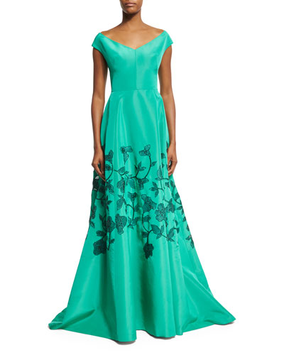 Embroidered Laser-Cut Cap-Sleeve Gown, Light Green