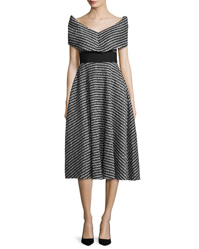 Pleated Gingham V-Neck Dress, Black