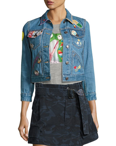 Shrunken Denim Jacket with Patches, Blue