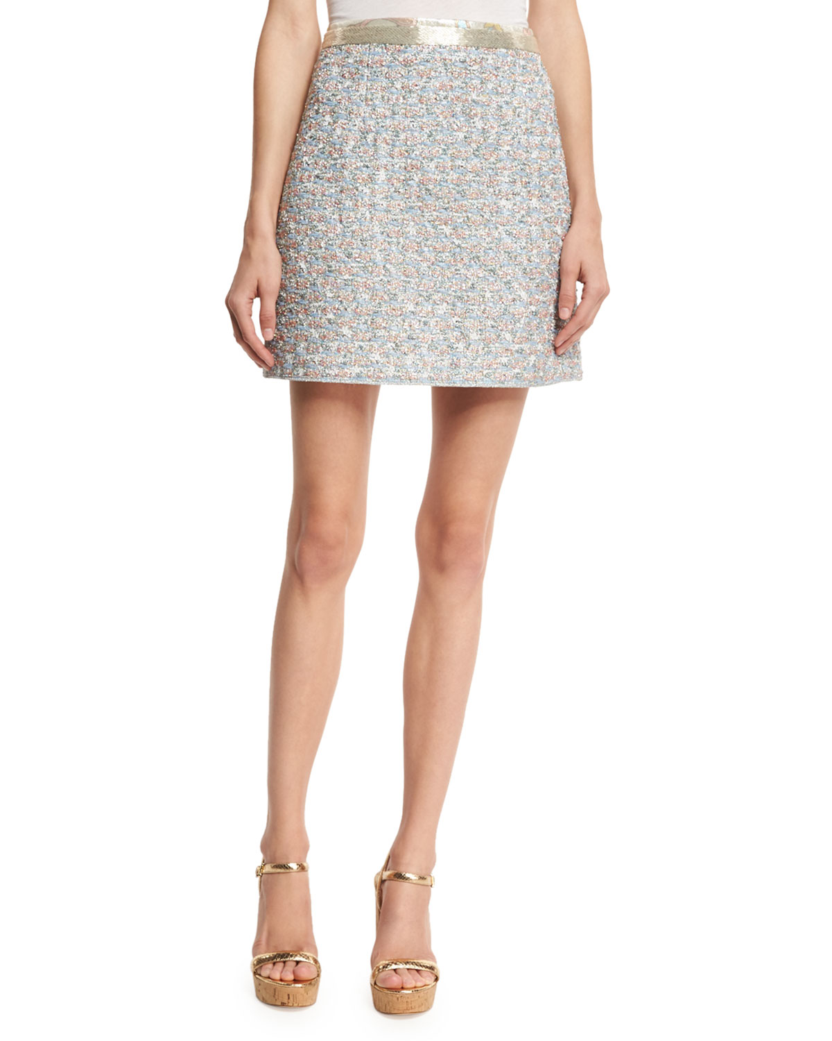 Beaded-Waist Tweed Skirt, White/Multi