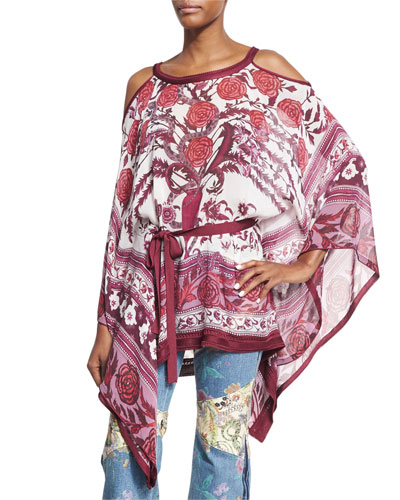 Cold-Shoulder Tie-Waist Floral Caftan Top, Cherry