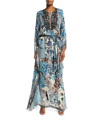 Floral Lace-Up Long-Sleeve Maxi Dress, Blue