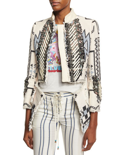 Blanket Embellished Jacket, White/Blue