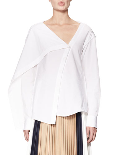 Draped Asymmetric Cotton Blouse, White