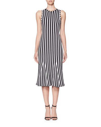 Wide-Stripe Intarsia Kick-Flare Dress