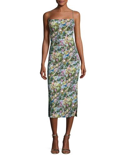 Floral Cady Lace-Up Midi Dress