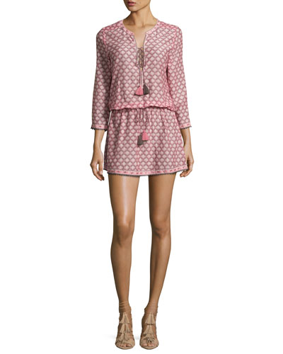 Trellis-Print 3/4-Sleeve Drawstring Dress, Light Pink