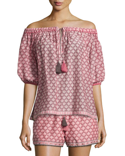 Trellis-Print Off-the-Shoulder Blouse, Light Pink
