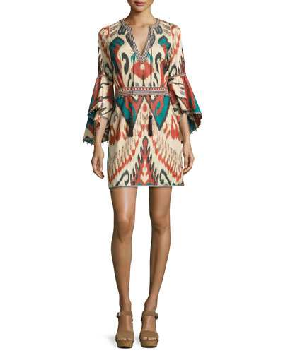 Ikat Bell-Sleeve Minidress, Green/Multicolor