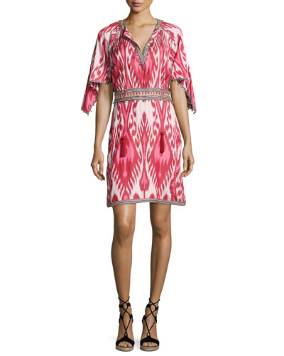Ikat Handkerchief-Sleeve Dress, Pink
