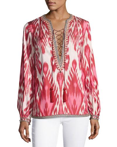 Aisha Ikat Lace-Up Tunic, Pink