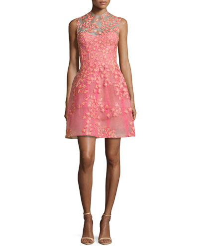 Sleeveless Floral-Embroidered Cocktail Dress