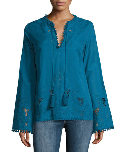 Sana Embroidered Pompom Tunic, Blue