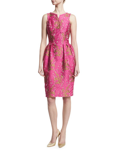 Jacquard Pleated-Waist Sheath Dress, Pink
