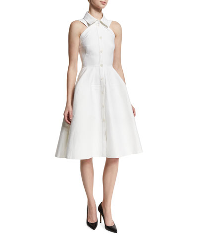 Sleeveless Knot-Waist A-Line Shirtdress, White