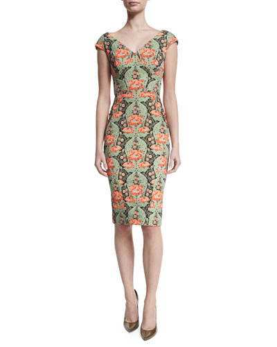 Printed V-Neck Cocktail Sheath Dress, Green/Multi