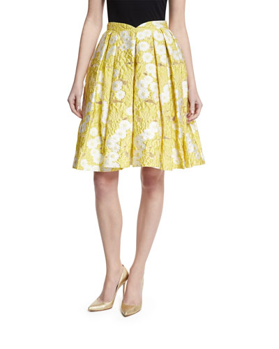 Floral Jacquard Pleated Skirt, Yellow