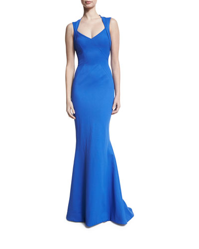 Ottoman Jersey Fishtail Gown, Blue