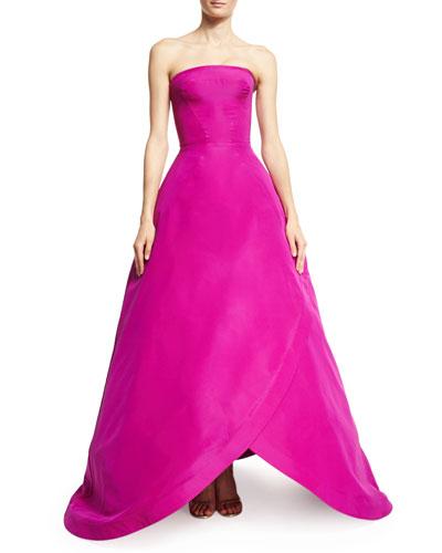 Strapless Tulip-Hem Gown, Magenta