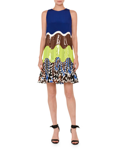 Sequined Wave Sleeveless Dress, Multi